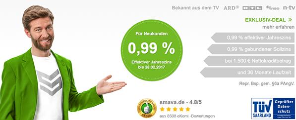 Günstiger 1500 Euro Kredit (0,99%)