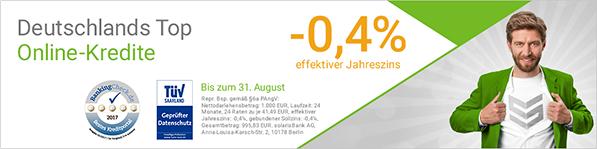 smavas Negativzins-Kredit: 1000 Euro für -0,4% eff. Jahreszins