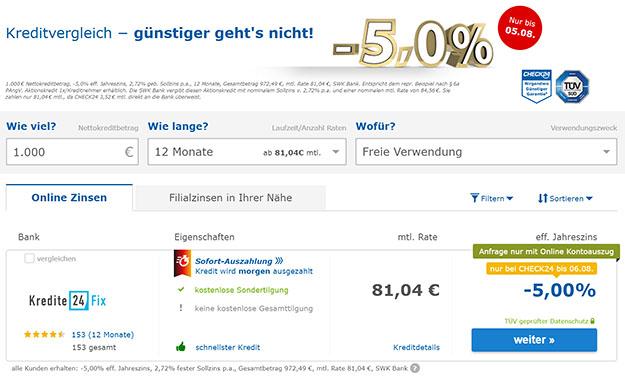 Check24 1000 Euro Negativzins-Kredit