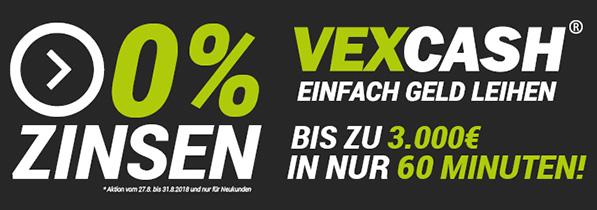 Vexcash 0% Zinsen (bis 31.08.2018)