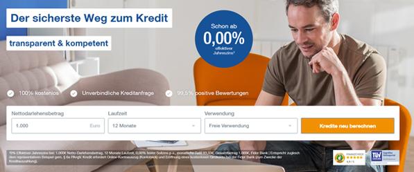 0% 1000 Euro Finanzcheck Kredit