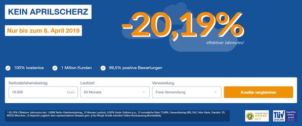 1000 Euro Kredit für -20,19%