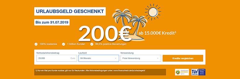 FINANZCHECK.de Urlaubsgeld 200 Euro